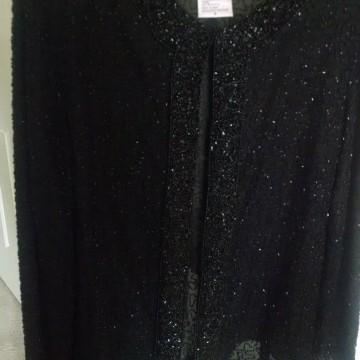 Laurence Kazar Black Beaded Women's 100% Silk Evening Jacket